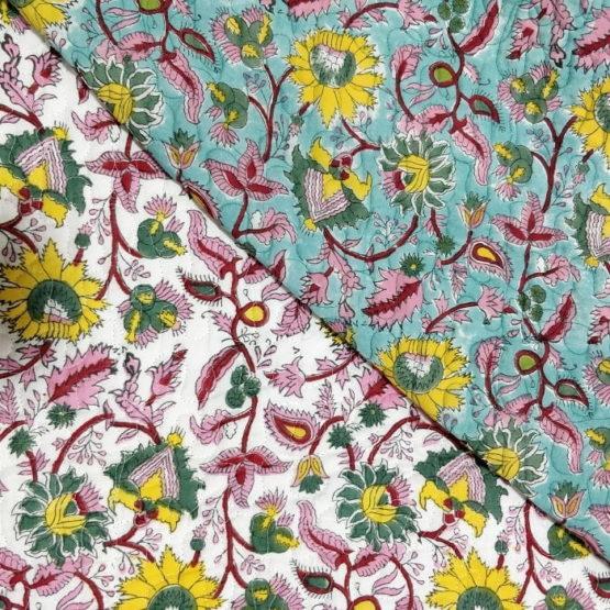GiTAGGED Turquoise Color Floral Motif Sanganeri Hand Block Printed Comforter 4