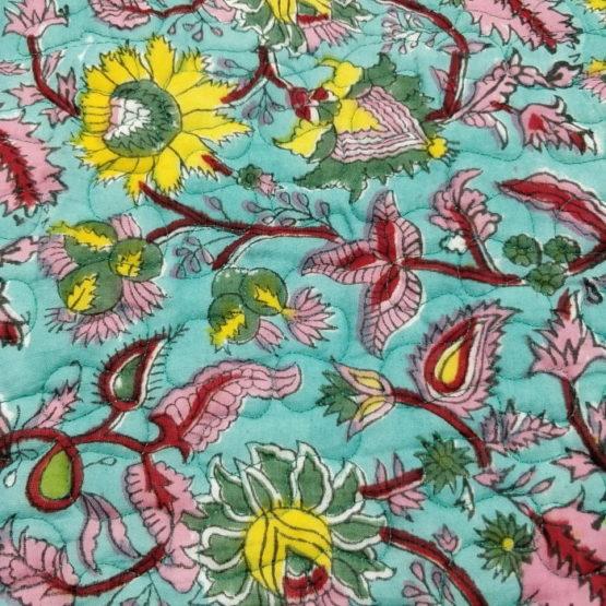 GiTAGGED Turquoise Color Floral Motif Sanganeri Hand Block Printed Comforter 5
