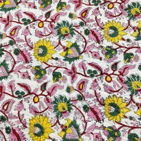 GiTAGGED Turquoise Color Floral Motif Sanganeri Hand Block Printed Comforter 6