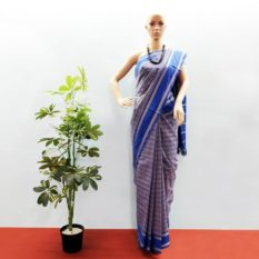 GiTAGGED Udupi Blue-Yellow Small Checks Pure Cotton Saree