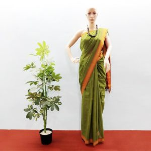 GiTAGGED Udupi Bottle Green with Butta Pure Cotton Saree 1