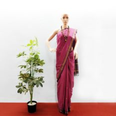 GiTAGGED Udupi Pinkish Purple with Butta Pure Cotton Saree 1