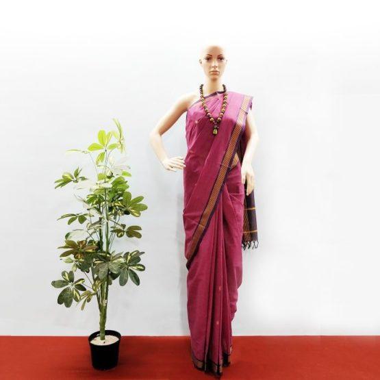 GiTAGGED Udupi Pinkish Purple with Butta Pure Cotton Saree 1