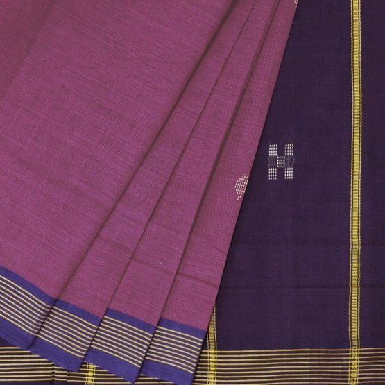 GiTAGGED Udupi Pinkish Purple with Butta Pure Cotton Saree 2