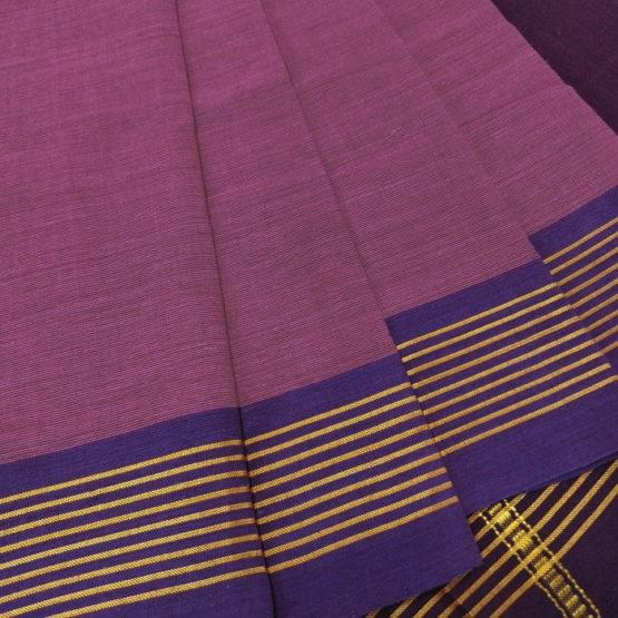 GiTAGGED Udupi Pinkish Purple with Butta Pure Cotton Saree 3