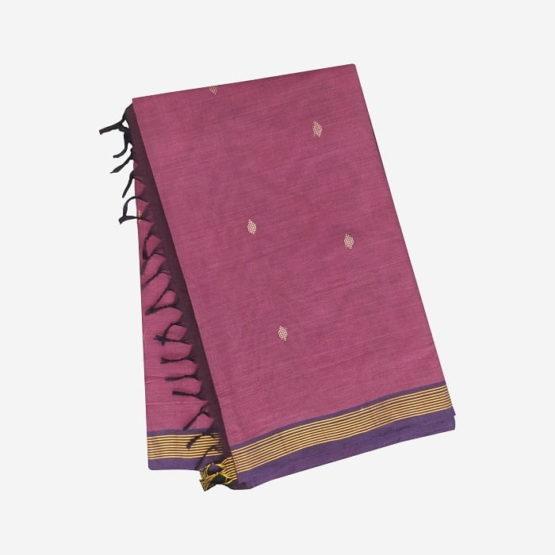 GiTAGGED Udupi Pinkish Purple with Butta Pure Cotton Saree 4