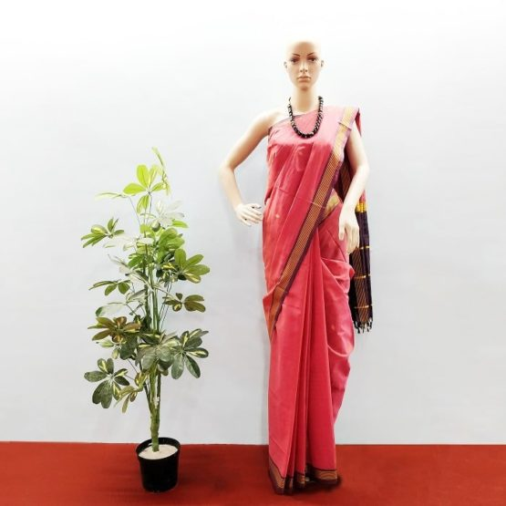 GiTAGGED Udupi Punch Pink with Butta Pure Cotton Saree 1