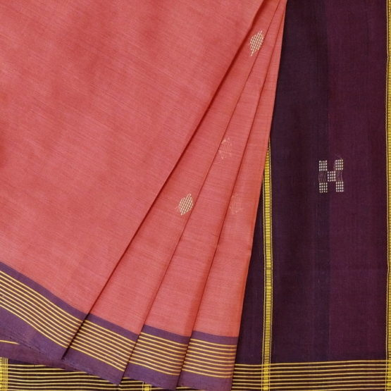GiTAGGED Udupi Punch Pink with Butta Pure Cotton Saree 2
