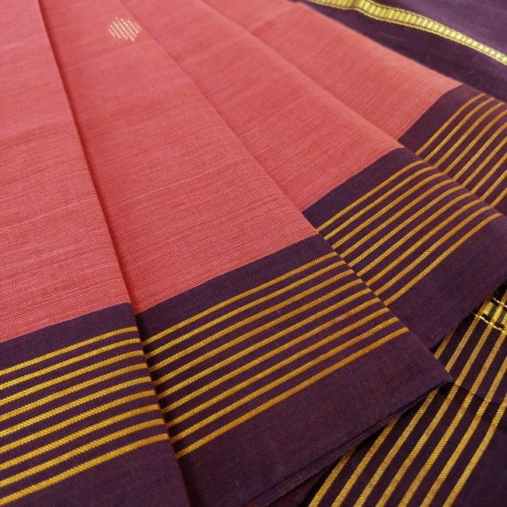 GiTAGGED Udupi Punch Pink with Butta Pure Cotton Saree 3