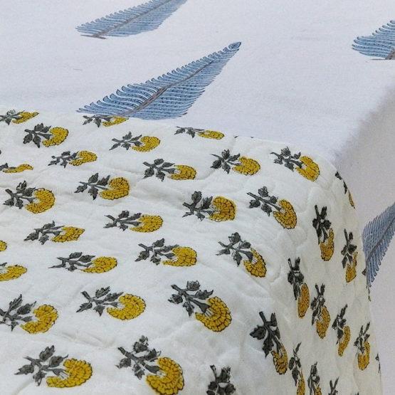 GiTAGGED White Floral Motif Sanganeri Hand Block Printed Comforter 2