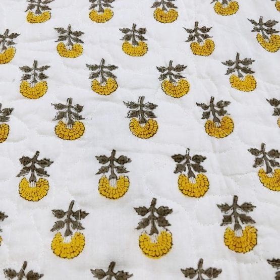 GiTAGGED White Floral Motif Sanganeri Hand Block Printed Comforter 5