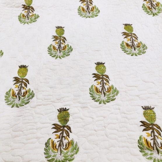 GiTAGGED White Floral Motif Sanganeri Hand Block Printed Comforter 6