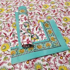 Sanganeri Hand Block Printed Pink Floral Pattern Bedsheet With Pillow Covers 1