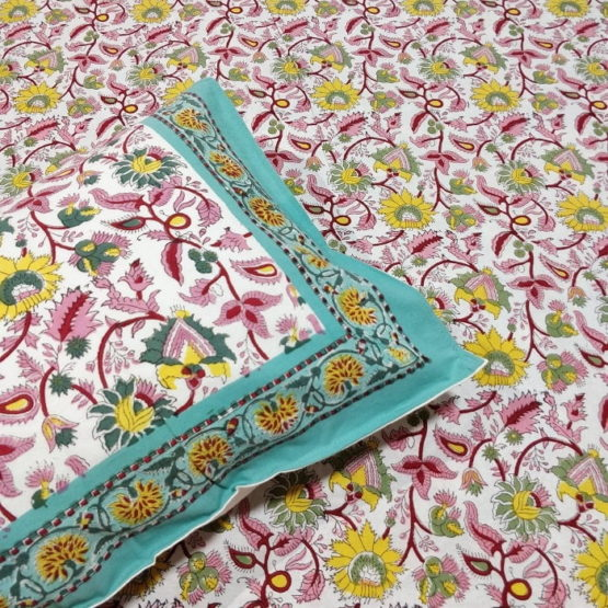 Sanganeri Hand Block Printed Pink Floral Pattern Bedsheet With Pillow Covers 2