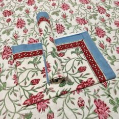 Sanganeri Hand Block Printed White Floral Pattern Bedsheet With Pillow Covers 1