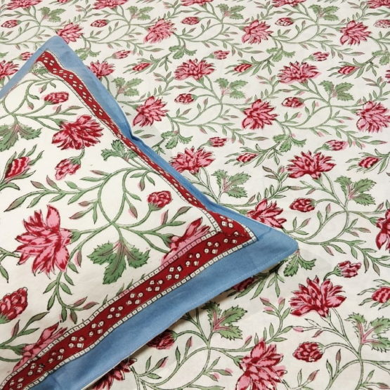 Sanganeri Hand Block Printed White Floral Pattern Bedsheet With Pillow Covers 2
