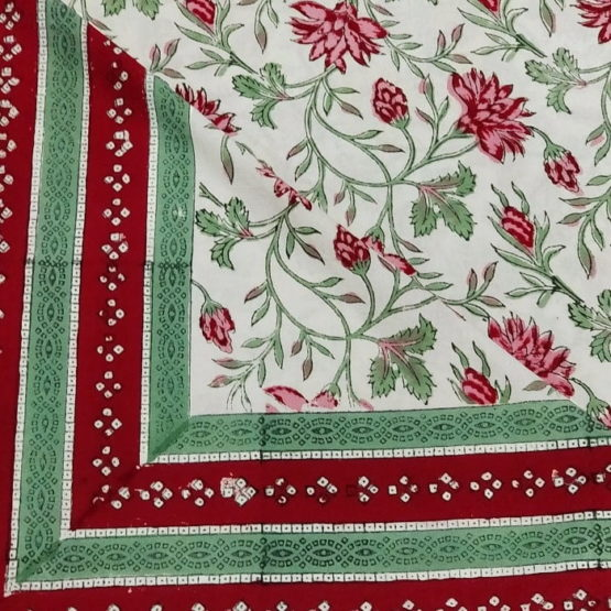 Sanganeri Hand Block Printed White Floral Pattern Bedsheet With Pillow Covers 3