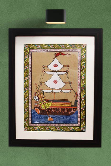 GiTAGGED Orissa Pattachitra Hamsa - Ship Painting 1