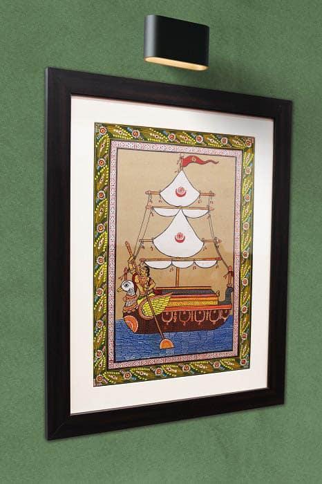 GiTAGGED Orissa Pattachitra Hamsa - Ship Painting 2