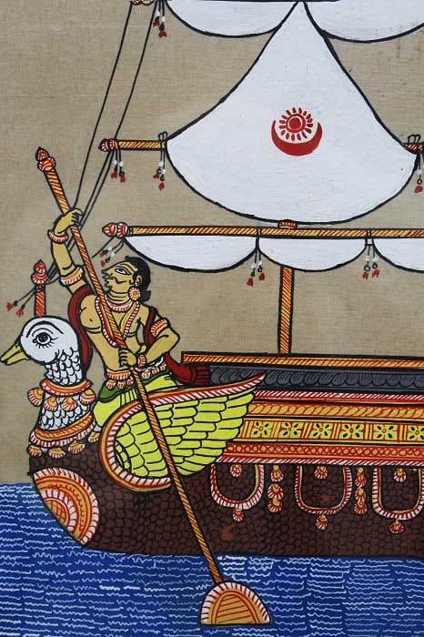 GiTAGGED Orissa Pattachitra Hamsa - Ship Painting 3