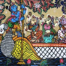 GiTAGGED Orissa Pattachitra - Ship Travel 13B