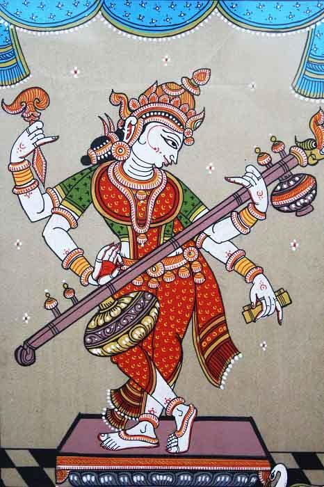 Orissa Pattachitra - Saraswathi Playing Veena C1