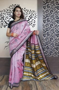 GiTAGGED Bomkai Baby Pink With Black Border Pure Cotton Saree 1