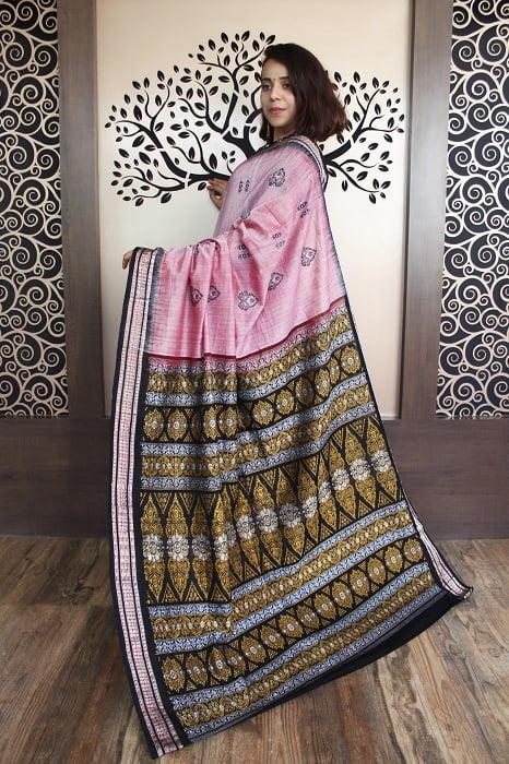 GiTAGGED Bomkai Baby Pink With Black Border Pure Cotton Saree 2