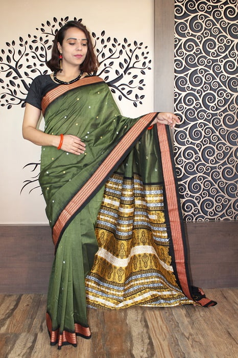 GiTAGGED Bomkai Green With Black Border Pure Cotton Saree 1
