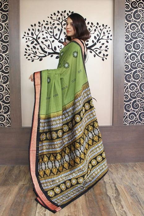 GiTAGGED Bomkai Green With Black Border Pure Cotton Saree 2