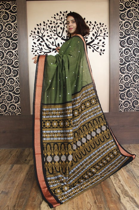 GiTAGGED Bomkai Green With Black Border Pure Cotton Saree 2