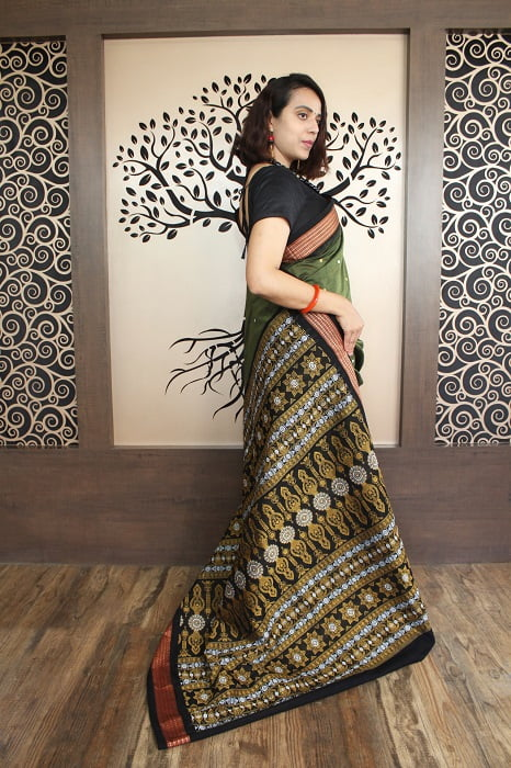 GiTAGGED Bomkai Green With Black Border Pure Cotton Saree 3