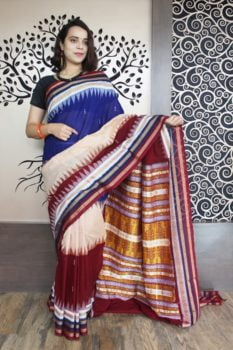 GiTAGGED Bomkai Multicolour With Brown Border Pure Cotton Saree 1