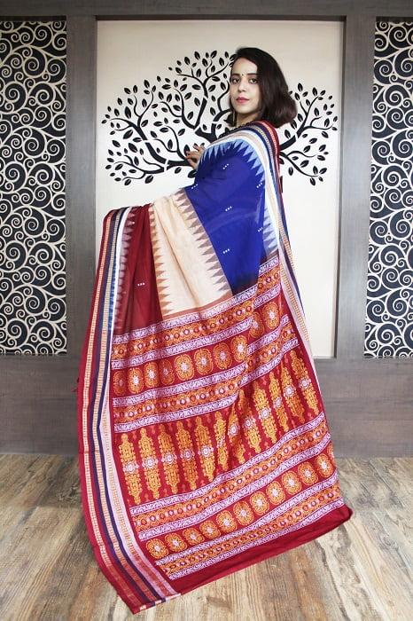 GiTAGGED Bomkai Multicolour With Brown Border Pure Cotton Saree 2