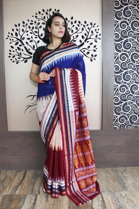 GiTAGGED Bomkai Multicolour With Brown Border Pure Cotton Saree 3
