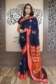 GiTAGGED Bomkai Navy Blue With Red Border Pure Cotton Saree 1