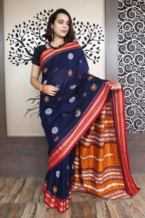GiTAGGED Bomkai Navy Blue With Red Border Pure Cotton Saree 2