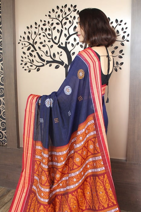 GiTAGGED Bomkai Navy Blue With Red Border Pure Cotton Saree 3