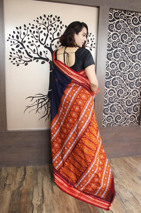 GiTAGGED Bomkai Navy Blue With Red Border Pure Cotton Saree 4