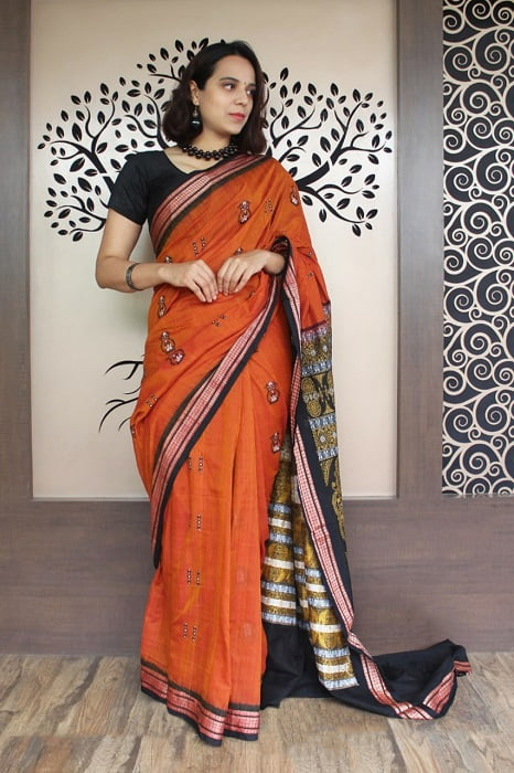 GiTAGGED Bomkai Orange with Black Border Pure Cotton Saree 1