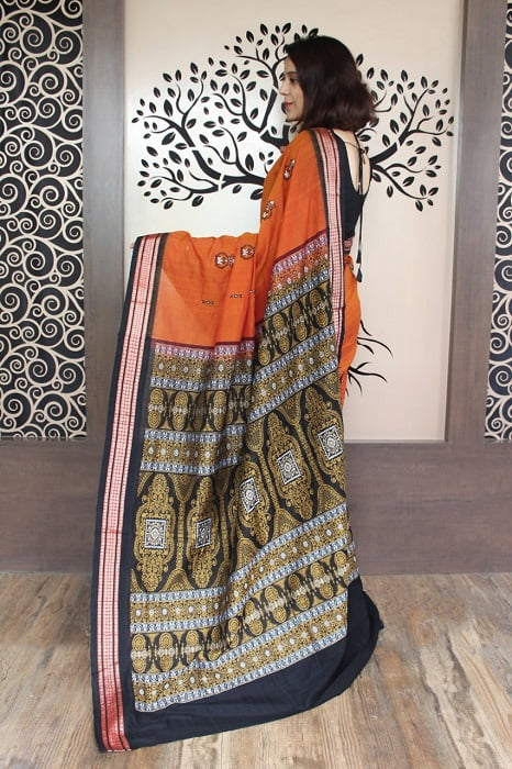 GiTAGGED Bomkai Orange with Black Border Pure Cotton Saree 2