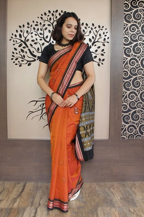GiTAGGED Bomkai Orange with Black Border Pure Cotton Saree 4