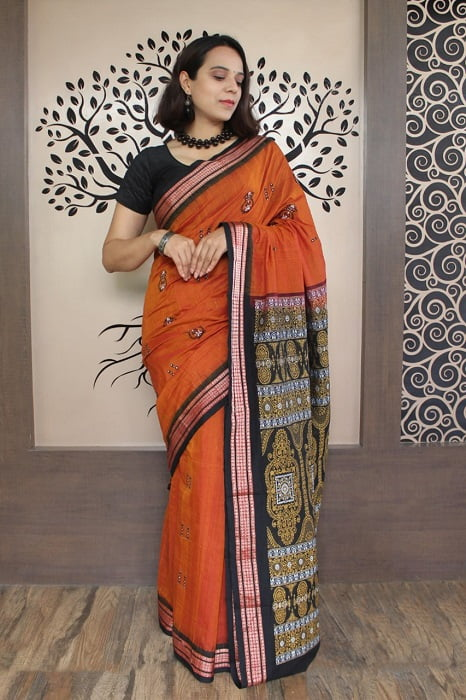 GiTAGGED Bomkai Orange with Black Border Pure Cotton Saree 5
