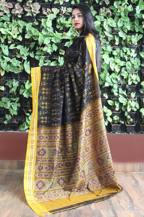 Orissa Ikat Black With Mustard Border Deha Banda Cotton Saree 1