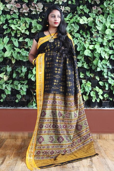 Orissa Ikat Black With Mustard Border Deha Banda Cotton Saree 2