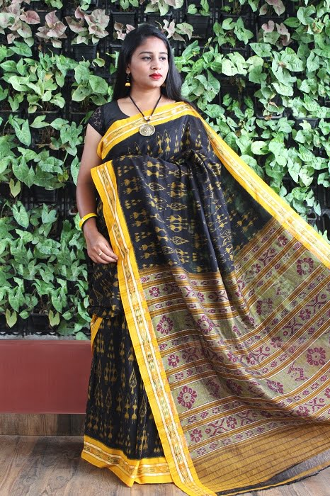 Orissa Ikat Black With Mustard Border Deha Banda Cotton Saree 3