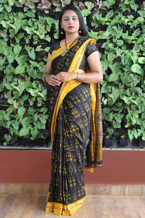 Orissa Ikat Black With Mustard Border Deha Banda Cotton Saree 4