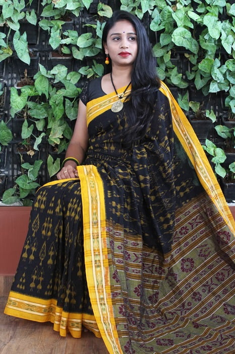 Orissa Ikat Black With Mustard Border Deha Banda Cotton Saree 5
