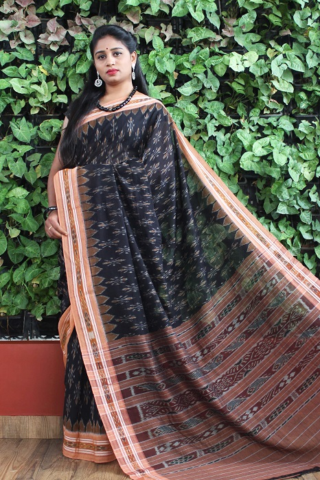Orissa Ikat Black and goldochre Border Deha Banda Cotton Saree 1