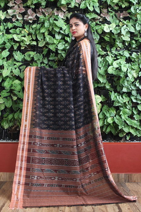 Orissa Ikat Black and goldochre Border Deha Banda Cotton Saree 2